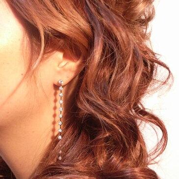 【送料無料】【あす楽対応】【楽ギフ_包装選択】シルバー925 高級CZダイヤ(キュービックジルコニア)【4ct.tw】ダズリング ウォーターフォール ロングピアス Sterling Silver 925 18k Gold Vermeil Dazzling CZ Drop Line Waterfall Dangle Earrings