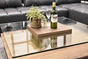 強化ガラスセンターテーブル幅100cmウォールナット材