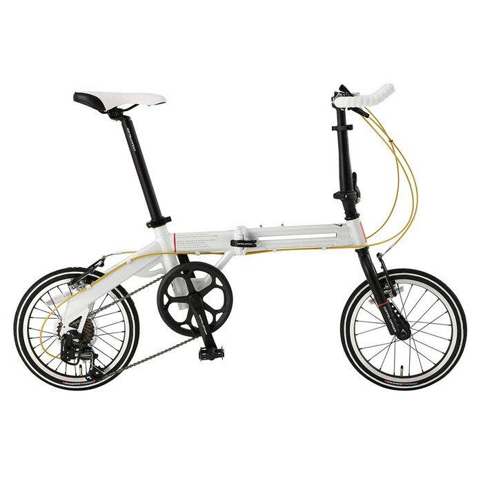 【4589946140675】【ドッペルギャンガー】 16インチ 折りたたみ自転車 104-R-WH [パラレルツインフレーム] シマノ7段変速 アルミニウム製 52T ホワイトxブラック   【代引き、日時指定配送不可】