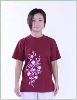 酒吧含蓮唐草(蓮花)太極拳短袖T恤開衩/甘地