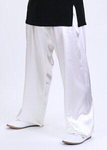 太極拳パンツの綺麗な光沢で自分を華やかに演出☆!!新商品 シルレッチ太極拳パンツ ホワイト...