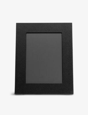 インテリア小物・置物, フォトフレーム SMYTHSON 16.7x21.5cm Panama crossgrain leather photo frame 16.7x21.5cm BLACK