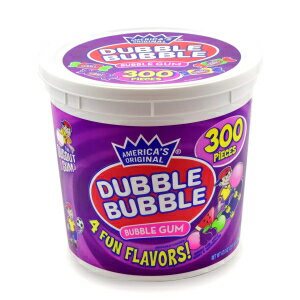 Tootsie Roll 1-PACK, Dubble Bubble - Assorted Flavors, Reusable Tub (300 Count) Peanut Free, Gluten Free