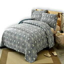 DaDa Bedding Collection DaDa Bedding Bohemian Bedspread Set - Suzani Medallion Off White Ash Grey Navy Blue Lapis - Floral Star Quilted Coverlet - Full - 3-Pieces