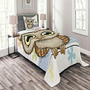 Ambesonne Owls Bedspread Set Twin Size, Cartoon Owl and a Butterfly on a Floral Background with Hello Message Illustration, Decorative Quilted 2 Piece Coverlet Set with Pillow Sham, Multicolor