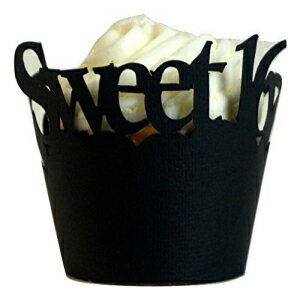 All About Details Black Sweet 16 Cupcake Wrappers, Set of画像