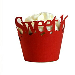 All About Details Red Sweet 16 Cupcake Wrappers, Set of 12画像