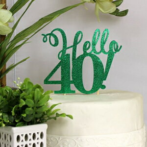 All About Details Green Hello 40! Cake Topper画像