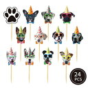 24 PCS Dog Face Cupcake Toppers Dog Cake Topper