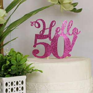 All About Details Pink Hello 50! Cake Topper画像