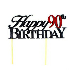 All About Details Happy 90th Birthday Cake Topper,1pc, Cake Decoration, Party Decor, Glitter Topper (Black & Red)画像