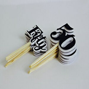 All About Details Black Fifty Cupcake Toppers, Set of 12画像