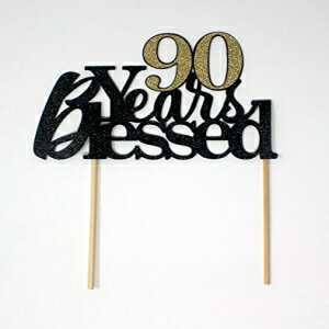 All About Details 90-Years-Blessed Cake Topper, 1PC, 90th Birthday, Party Decor, Glitter Black (Black & Gold)画像
