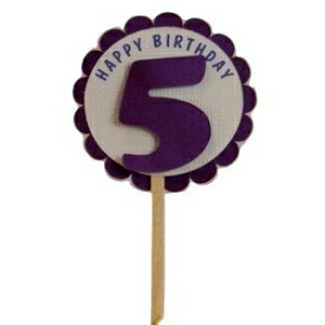 All About Details Shimmer Purple 5th Birthday Cupcake Topp画像