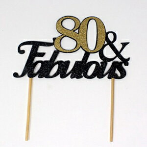 All About Details 80 & Fabulous Cake Topper, 1PC, 80th Birthday, Party Decor, Glitter Black (Black & Gold)画像