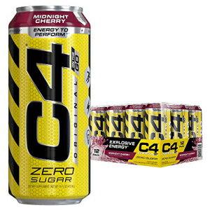 Cellucor C4 Original Carbonated Zero Sugar Energy Drink, Pre Workout Drink + Beta Alanine, Midnight Cherry, 16 Fl. Oz (Pack of 12)