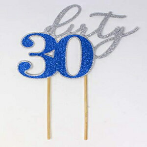 All About Details Dirty 30 Cake Topper, 1PC, 30th birthday (Silver & Blue)画像