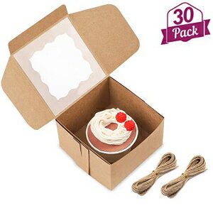 Moretoes 30 Packs 4x4x2.5 Inches Brown Bakery Boxes with W