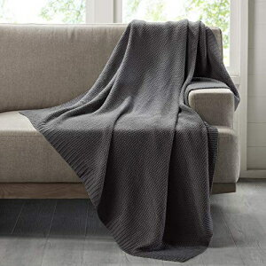 Ink+Ivy Bree Knit Blanket Charcoal Full/Queen