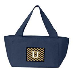 Caroline's Treasures CJ1057-UNA-8808 Letter U Chevron Navy Blue and Gold insulated lunch bag Large Multicolor