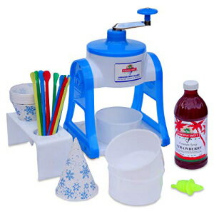 Hawaiian Sweet Islands Shaved Ice and Snow Cone Hand Crank non-electric Machine with 1 Flavor Syrup Gift Pack and Accessories Kit - RED Bubblegum画像