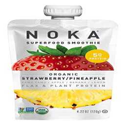 NOKAスーパーフードポーチ(ストロベリーパイナップル)6パック  100%オーガニックフルーツと野菜のスムージースクイーズパック  砂糖無添加、非遺伝子組み換え、グルテンフリー、ビーガン、5g植物性タンパク質  各4.2オンス NOKA Superfood Pouches (Strawberry