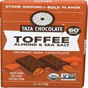 Taza Chocolate | Amaze Bar | Toffee, Almond & Sea Salt | 60% Stone Ground | Certified Organic | Non-GMO | 2.5 Ounce (1 Count)