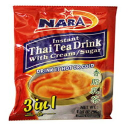 Nara Instant Thai Tea Drink 3 in 1 (With Cream & Sugar /12-ct) - 14.76oz (Pack of 1)