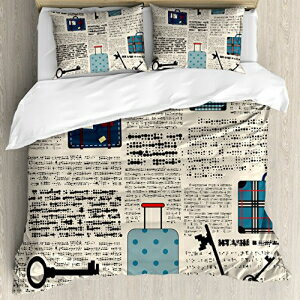 Ambesonne Old Newspaper Decor Duvet Cover Set Quee