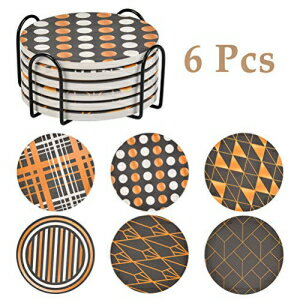 FOCCTS 6 Pack Ceramic Coasters Drinks, Stone Coasters for Drinks Absorbent with Holder as House Decor, Living Room or Coffee Bar Decor, Housewarming, Prevent Furniture from Dirty and Scratched画像