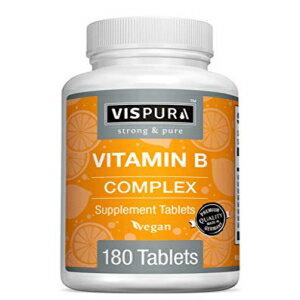 VISPURA Vitamin B-Complex, 180 Vegan Tablets, All B Vitamins Including B12, B1, B2, B3, B5, B6, B7, B9, Folic Acid, for Stress, Energy and Healthy Immune System*, Natural Supplement Without Additives画像