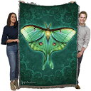 Pure Country Weavers Luna Moth by Brigid Ashwood Blanket Throw Woven from Cotton - Made in The USA (72x54)