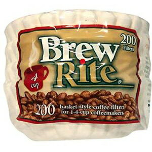 Brew Rite NA 4 Cup Coffee Basket Disposable Filters 200 c (White)画像