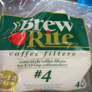 Brew Rite #4 8-12 Cup Cone Style Coffee Filters画像