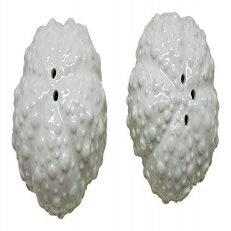 キッチン用品・食器・調理器具, その他 California Seashells White Ceramic Sea Urchin Shells Salt and Pepper Set