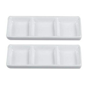 BESTONZON 2pcs White Ceramic Serving Platter 3 Com