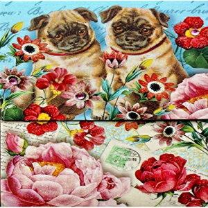 日用品雑貨・文房具・手芸, その他 Punch Studio Glitter Gem Embellished Mini Pocket Notepad - Garden Pugs 64547
