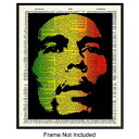 Yellowbird Art & Design Bob Marley Wall Art Poster Print - Vintage Upcycled Dictionary 8x10 Unframed Photo - Cool Unique Gift for Music and Reggae Fans, Musicians - Chic Jamacian Home Decor
