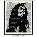 Yellowbird Art & Design Bob Marley Quotes Dictionary Wall Art Print - Vintage Home Decor for Living Room, Bedroom, Dorm Room, Den, Man Cave - Perfect Gift for Reggae Fans - 8x10 Photo - Unframed