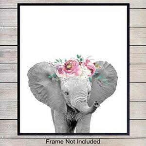 Floral Baby Elephant - Nursery Decor, Baby Room