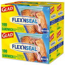 Glad Flex'N Seal Food Storage Bags, Sandwich – 100 Count, Pack of 4 (Package May Vary)