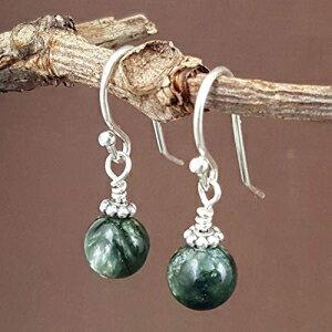 Seraphinite Natural Gemstone Minimal Drop Earrings