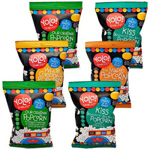 スナック菓子, その他 YOLO! Snacks - Individual Bag Snack Size Popped Popcorn - Gourmet Variety Pack Cheddar, Sea Salt, Maple and Original Flavors - 18 - 21 Grams - 6 Count Case