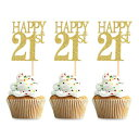 Unimall 24 Pieces Gold Glitter Number 21 Birthday