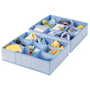 mDesign Soft Fabric 9 Section Dresser Drawer and Closet Storage Organizer for Child/Kids Room, Nursery, Playroom - Divided Large Organizer Bin - Herringbone Print with Solid Trim, 2 Pack - Blue画像