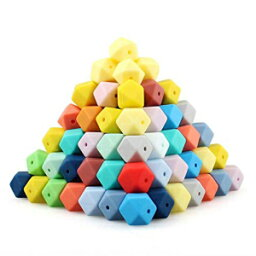 Kangaroo Queen 60pcs 17mm Mix Colors Hexagon Silicone Beads 62Colors Food Grade Baby Teething Beads DIY Jewelry Necklace Maker BPA Free
