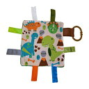 The Learning Lovey Baby Sensory, Security & Teething Closed Ribbon Tag Lovey Blanket with Minky Dot Fabric: 14X18 (Dinosaurs)