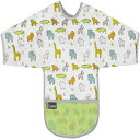Kushies Cleanbib Waterproof Feeding Bib with Sleeves and Catch All/Crumb Catcher pocket. Wipe clean and reuse! Lightweight for comfort, Baby Boys and Girls, Unisex, 2-4 Years, White Little Safari