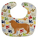 Caroline's Treasures Pawprints Baby Bib, Leonberger, Large