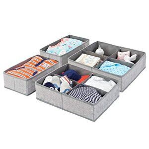 mDesign Soft Fabric Dresser Drawer and Closet Storage Organizer Set for Child/Kids Room, Nursery, Playroom - 4 Pieces, 10 Compartments - Herringbone Print with Solid Trim, Set of 2 - Gray画像